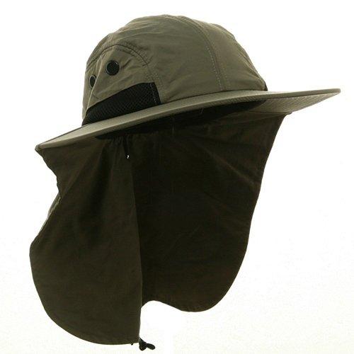 4 Panel Large Bill Flap Hat-Olive W15S48B