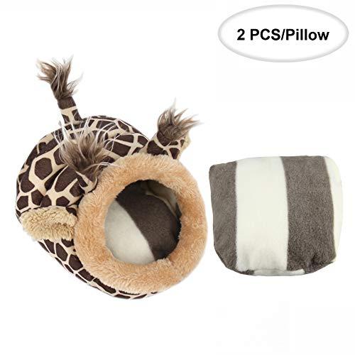 ABLAZEZAI Hedgehog Chinchilla Guinea Pig Bed Cage Toys Hamster Supplies Rat Habitat Bearded Dragon House Small Animal Nest(S,Giraffe)
