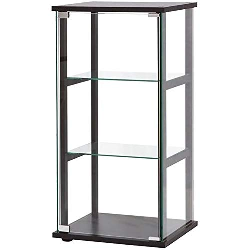 BOWERY HILL 3 Shelf Glass Curio Cabinet in Black by BOWERY HILL