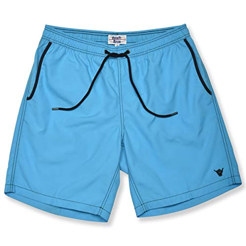 Beach Bros Men's Swim Trunks - Quick Dry Bathing Suit w/Elastic Waistband & Pockets - Solid Contrast Turquoise Green, Large (Waist: 33