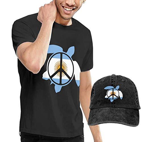 Adult Argentina Flag Sea Turtle Peace Sign Short Sleeve Tee and Hat Costume Set Black