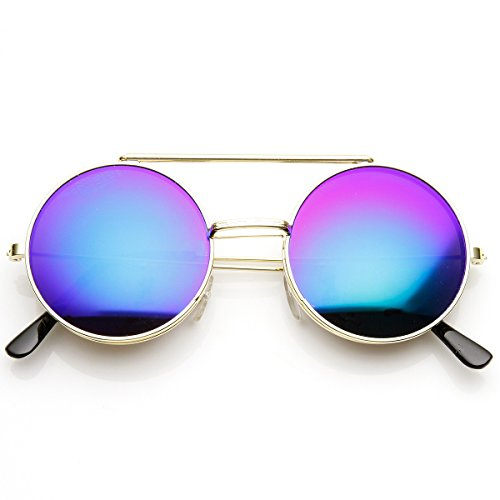 zeroUV - Limited Edition Color Mirror Flip-Up Lens Round Circle Django Sunglasses (Gold - Sunglasses Limited Edition