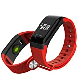 LJXAN Activity Fitness Tracker Running Record Heart Rate Blood Pressure Sleep Monitor Health Monitoring Waterproof Bluetooth,Red