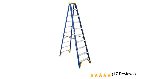 Werner Old Azul Índice de trabajo (375-pound de electricista Fibra de vidrio escalera/jobstation: Amazon.es: Bricolaje y herramientas