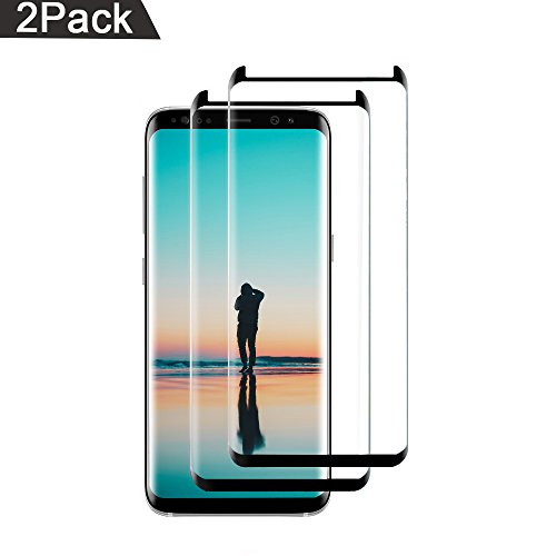 Case Mirror Screen Protector - [2-Pack] Galaxy S8 Plus Screen Protector, Tempered Glass Screen Protector 9H Hardness/Anti-Scratch/Anti-Bubble/3D Curved/Ultra Clear for Samsung Galaxy S8 Plus (Black)