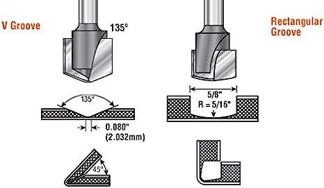 Amana Tool 45792-M V-Groove 90 Deg ACM Panels Like Alucobond 0.090 Tip Cut Width x 3//8 CH x 1//2 D x 6mm SHK Carbide Tipped Router Bit Dibond Folding for Aluminum Composite Material