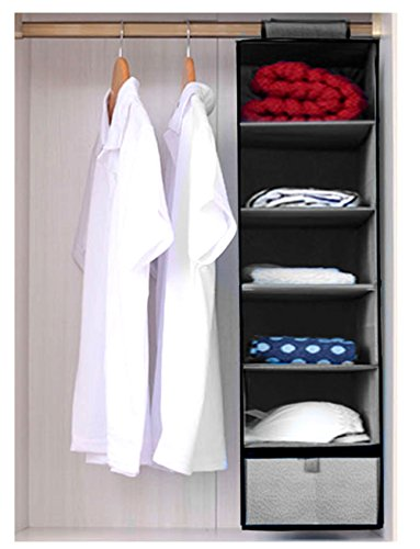 HLLMART 6 Shelves Hanging Closet Organizer With One Dra (GREY) by Hll Mart