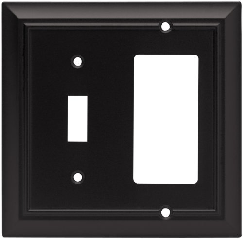 Brainerd 64214 Architectural Single Toggle Switch/Decorator Wall Plate / Switch Plate / Cover, Flat Black