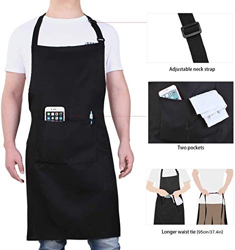 Will Well Adjustable Bib Aprons, Water Oil Stain Resistant Black Chef Cooking Kitchen Aprons with Pockets for Men Women… 4