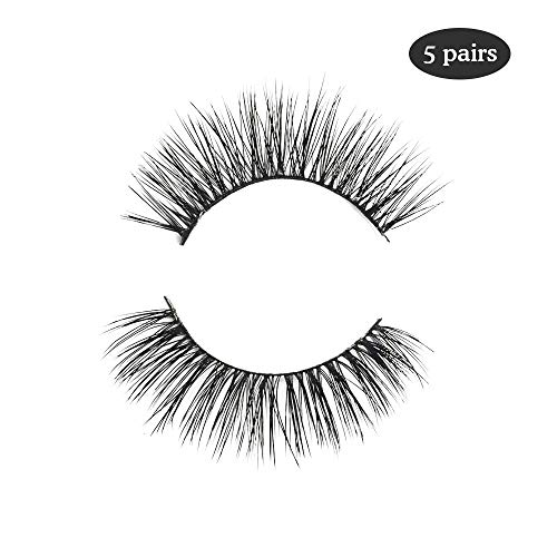 Beauty : 3D Mink Eyelashes Natural Long Make up Messy Flirty Fake Lashes Curly Lightweight Black False Eyelashes for Women 5 Pairs/Box Non-magnetic