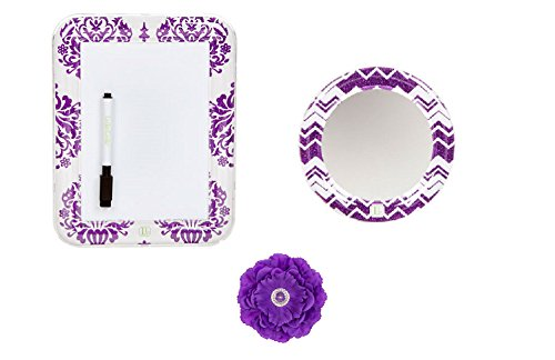 Flower Board Dry Erase (Locker Lookz Dry Erase Board, Mirror and Peony Flower Magnet Set 2015 Limited Edition (Set of 3) (Purple))