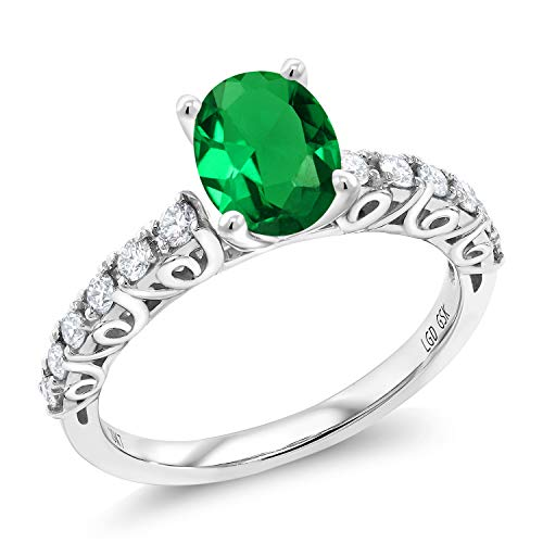Gem Stone King 0.80 Ct Oval Green Simulated Emerald G-H Lab Grown Diamond 10K White Gold Ring (Size 5) - Oval Green Emerald Lab