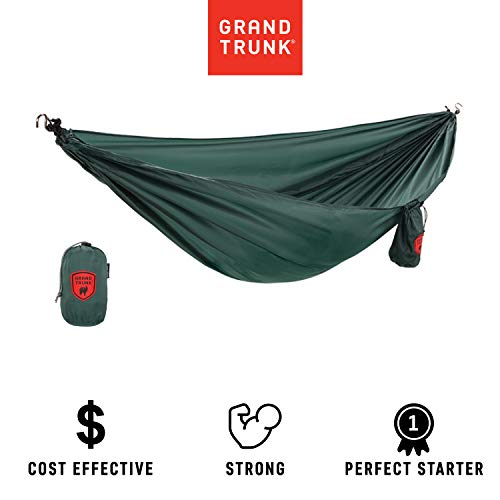 Grand Trunk Ultralight Hammock: Portable Camping, Hiking, Backpacking, and Travel Hammock: Perfect Starter Hammock, Forest Green (Grand Parasheet Trunk)