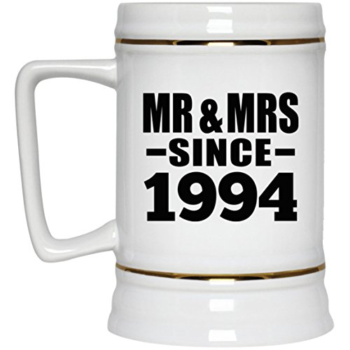 25th Anniversary Mr & Mrs Since 1994-22oz Beer Stein Ceramic Bar Mug Tankard - Gift for Wife Husband Wo-men Her Him Wedding Mother's Father's Day Birthday Anniversary (Wedding Anniversary Stein)