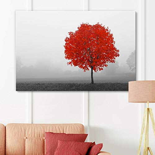 Pop Color of Red Tree on Black and White Landscape