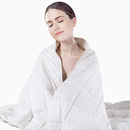 Cheap PORLAE Weighted Blanket (15 lbs - 48 x71 ) | Cool Heavy Blanket for Hot & Cold Sleepers | Kids or Adult | 100% Cotton (White) Black Friday & Cyber Monday 2019