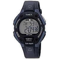 Reloj Timex T5H591 Ironman Classic 30 con correa de resina negra /azul de tamaño completo para hombres