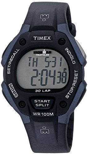 100m Watch Sports (Timex Men's T5H591 Ironman Classic 30 Full-Size Black/Blue Resin Strap Watch)