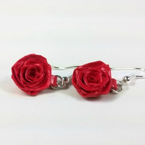 Quilling Paper Rose Earrings Handmade Bridal Jewelry by Sweethearts and Crafts