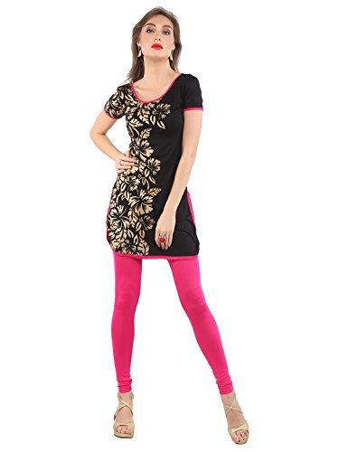 (Ira Soleil Black with Gold block printed Viscose Knitted Stretchable Cap sleeves Women's short Kurti,Gold,XXL)