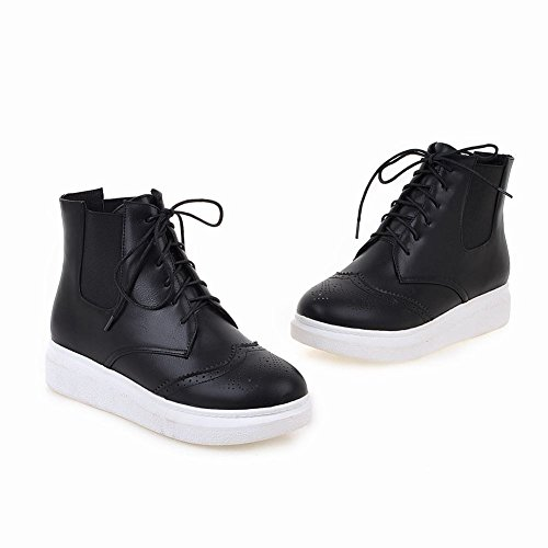 Carolbar Womens Lace Up Bungee Comfort Casual Retro Flats Short Boots Neri