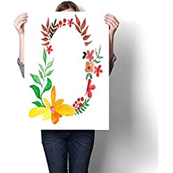 """Anshesix Wall Paintings Greeting Card or an Invitation Template Made of Hand Painted Watercolor Flowers Modern Wall Art for Living Room Decoration 24""""x32"""""""