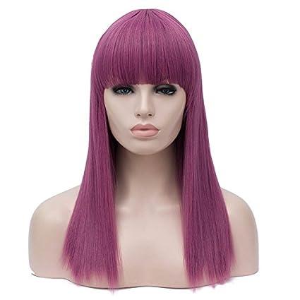Peluca de pelo largo y liso de color morado para disfraz de fiesta de Ani ·