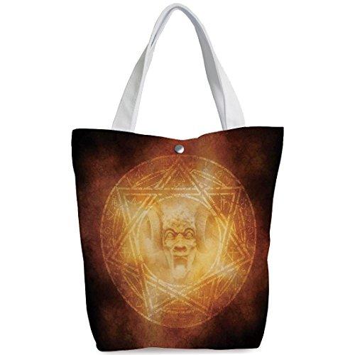 iPrint Canvas Shopping bag,shoulder handbags,Shoulder Bag,Horror House Decor,Demon Trap Symbol Logo Ceremony Creepy Ritual Fantasy Paranormal Design,Orange,Unique Durable Canvas Tote Bag by iPrint