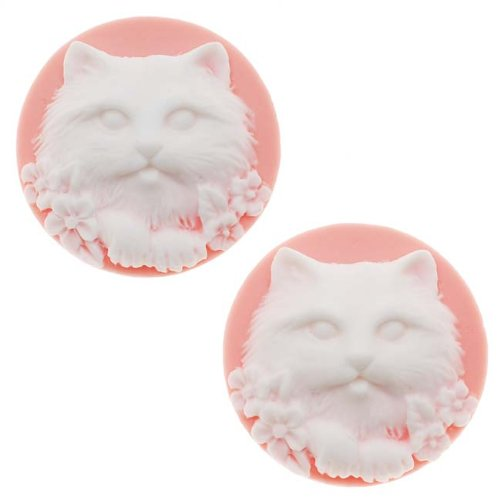 (Beadaholique Lucite Round Cameo Pink with White Cat's Face 25mm (2 Pieces))