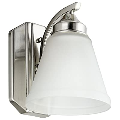 "Sunlite 45055-SU Bathroom Vanity Light Fixture 8"" Bell Shaped Frosted Glass, 1 Light, Brushed Nickel Finish - Sunlite's single light classic designed fixture will bring a fresh and traditional feel wherever applied. This fixture is reversible and can be used for up or down light. It is made of durable metal with a rich brushed nickel finish and a frosted glass shade. All mounting hardware is included for easy assembly and installation. - bathroom-lights, bathroom-fixtures-hardware, bathroom - 41uXiXycD1L. SS400  -"