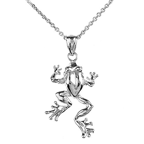 Animal Kingdom Polished 14k White Gold Frog Pendant Necklace, 22
