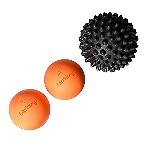 Massage Lacrosse Balls, Firm Lacrosse Ball Set of 2 and 1 Spiky Roller for Trigger Point Therapy, Hands, Feet, Back, Neck massager, Muscle Knots, Myofascial Release, Yoga (Trigger Point Therapy Hand)
