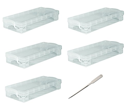 Super Stacker Pencil Box, 8.25 x 1.5 x 4 Inches, Clear, 5 Boxes (40309) - Bundle Includes Universal Letter Opener