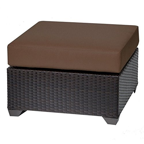 TKC Barbados Patio Wicker Ottoman in Cocoa