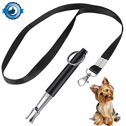 FEIBIAO Dog Whistle to Stop Barking,Silent Bark Control Ultrasonic Patrol Sound Repellent Repeller,Adjustable Pitch in Black Color Whistles with 1 Free Lanyard Strap-Train Your Dog by FEIBIAO