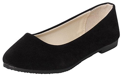 IF FEEL Women's Casual Pointy Toe Comfortable Black Slip On Suede Ballerina Flats Shoes (7.5 B(M) US, Black) 0.5' Wide Leather