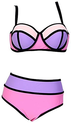 Women's Plus Colorful High Waisted Diving Suit Neoprene Push up Bikini Swimsuit Pink US L