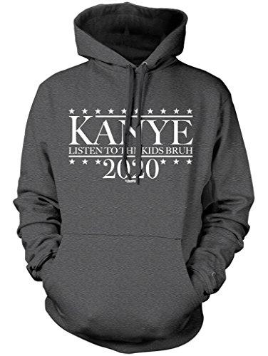 LOGOPOP Kanye For President 2020 Unisex Adult Hoodie, S, Dark Heather