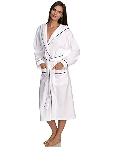 TowelSelections Women's Robe, Cotton Lined Hooded Terry Bathrobe Large/X-Large White-Navy