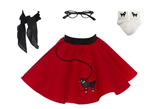 Hip Hop 50s Shop Toddler 4 Piece Poodle Skirt Costume Set (Red) ()