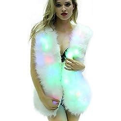 SZTOPFOCUS Women Faux Fur Outwear Winter Light Up Burning Glow Fluffy Sparking Rainbow LED Costume Waistcoat