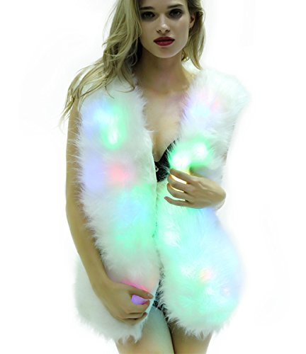 SZTOPFOCUS Women Faux Fur Outwear Winter Light Up Burning Glow Fluffy Sparking Rainbow LED Costume Waistcoat