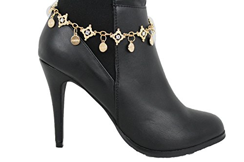 TFJ Women Boot Bracelet Western Gold Metal Chain Shoe Silver Rhinestones Bling Happy Multi Charms Anklet - Taylor Swift Style Retro