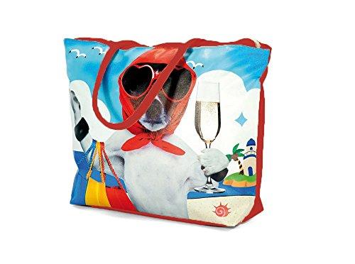 Summer Tote Summer Doggy Print Bag Beach Beach Red Holiday 7qrp7