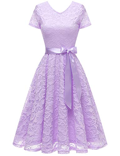 Bridesmay Women V Neck Floral Lace Cocktail Party Bridesmaid Dress with Sleeves Lavender S