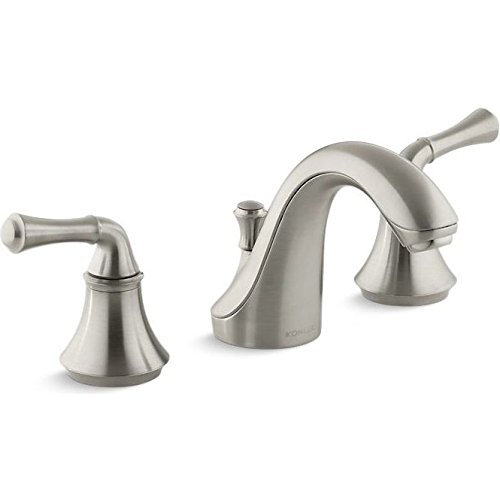 KOHLER K-10272-4A-BN Forte Widespread Lavatory Faucet with Traditional Lever Handles, Vibrant Brushed Nickel - Classic 8' Widespread Bathroom Faucet