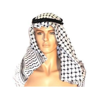 Thing 1 Costume Australia (AUTHENTIC Black & White Middle Eastern Arab Kafiya Keffiyeh with Aqel Rope)