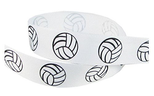 HipGirl Brand Printed Grosgrain Volleyball Up Close Ribbon, 5 -Yard 7/8-Inch, White (Blue Duck Charm)
