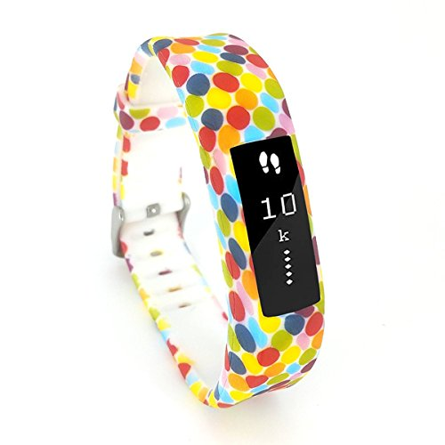 Leotop Compatible with Fitbit Ace Bands Kids, Floral Print Cute Silicone Sports Strap Replacement Wristband with Case Stainless Steel Buckle Compatible Fitbit Ace/Alta HR Tracker Boy Girl Women (Dot)