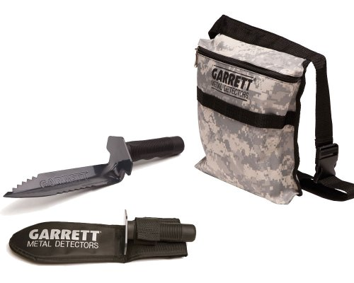 Garrett Edge Metal Detector Digger with Sheath and Camo Finds Pouch Combo